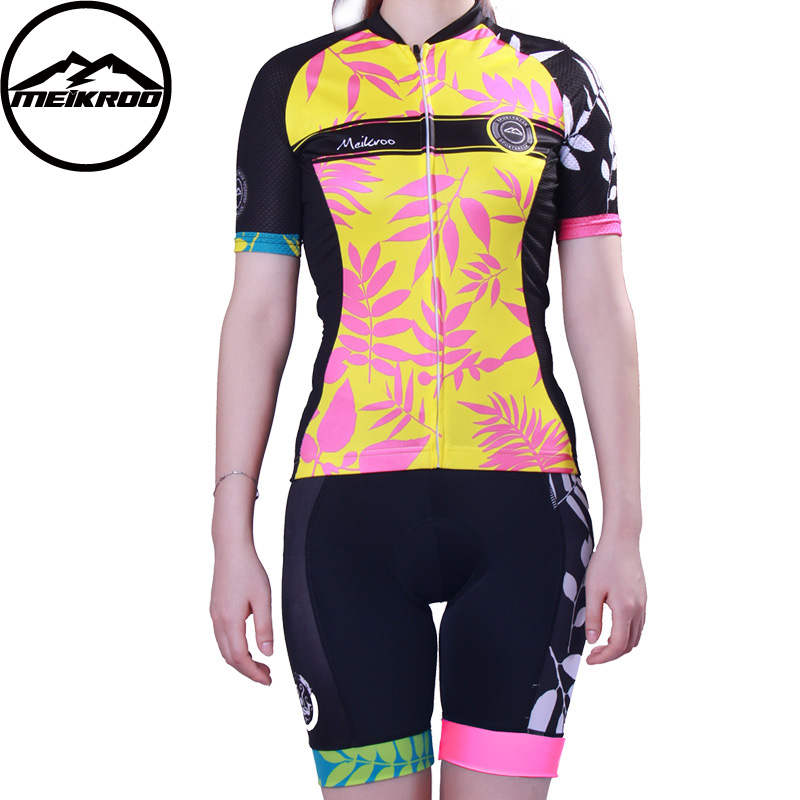 Meikroo Autumn leaves Women cycling jerseys Shorts, road bike wear, bicycle clothing, ropa ciclismo mujer Wholesale retail