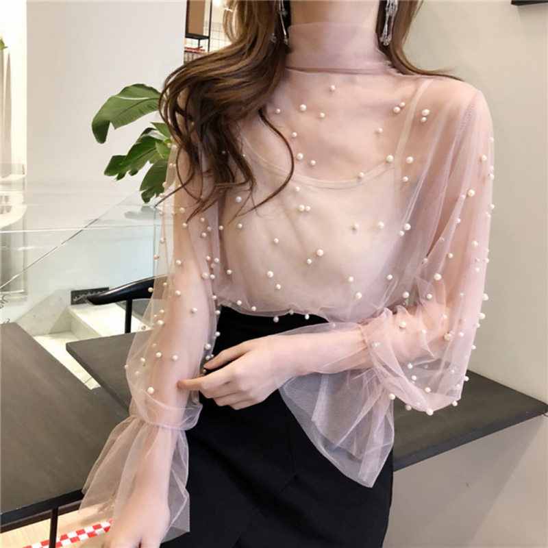Hot Sales Summer Long Flare Sleeve Bow Tie Mesh Blouses Women 2 Pcs Camis+Transparent Sexy Mesh Shirts Women Rivet Pearl Tops