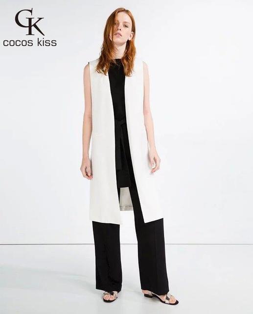 2016 Женская мода белый черный длинный удар складки жилет пальто Европейский стиль жилет без рукавов вернуться сплит пиджаки повседневная топ Женский