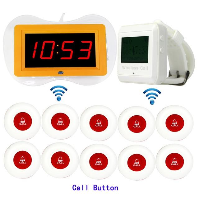 Restaurante sem fio Pager Sistema de Chamada Receptor Exibição Host + Branco Relógio De Pulso Receptor + 10 pcs Chamar Botão do Transmissor F3259