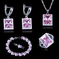 Dubai Stile Semplice Quadrato Rosa Zirconia Argento 925 Bollo Monili Color Imposta Per Le Donne Bracciali Pendente anelli orecchini Neckalce