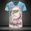 2017 New Arrival 3D T Shirt Men Summer Fashion Sky Blue V Neck Printed T Shirts Casual Brand Design Men Slim Fit Cotton T Shirt