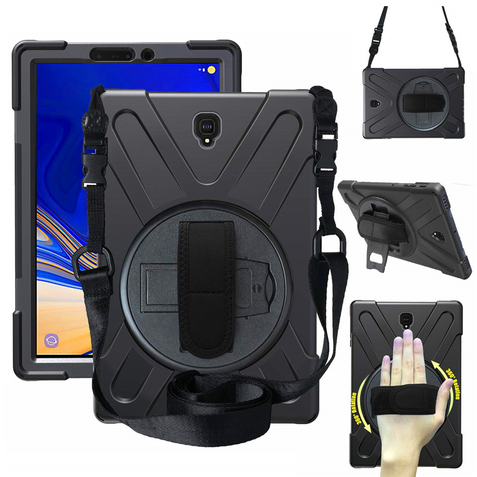 Case For Samsung Galaxy Tab S4 10.5 SM T830 T835 T837 Tablet Kids Skin Safe Shockproof Armor Hard Cover+ Hand Strap & Neck Strap