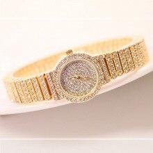 Venta caliente Famosa Marca Mujeres Diamante Rosa Reloj Pulsera de Oro Señora de Lujo Vestido de Reloj de La Joyería de Bling Del Rhinestone Crystal Bangle