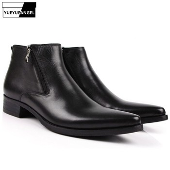 Men Boots Genuine Leather Black Pointed Toe Luxury Fashion Classic Business Office Formal Ankle Boots Men Shoes Male Side Zipper