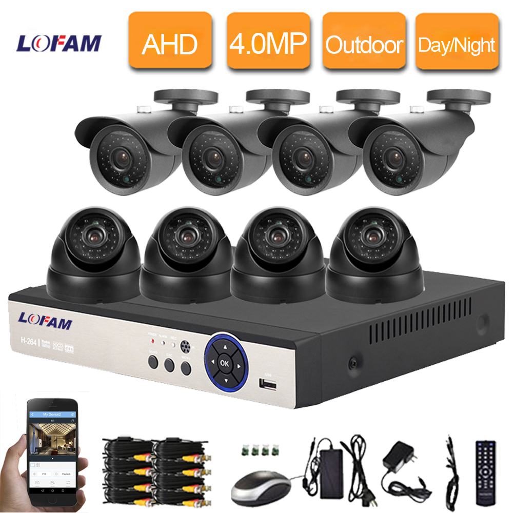 LOFAM Security Camera System 8CH 4MP AHD DVR CCTV Camera System 4 0MP Bullet Dome Outdoor