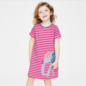 2019 New girls dress Brand stripe children's clothing summer baby kids cotton girl Infant dress knitting clothes toddler child