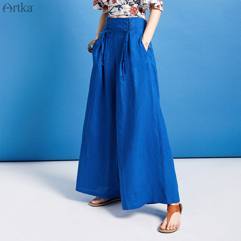 ARTKA 2019 Spring Women's Pants High Waist Wide Leg Pants For Women Solid Color Casual Sashes Long Female Pants KA10395X image