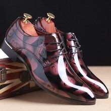 Mode Hommes Casual Oxford Chaussures Hommes de Rouge Impression D'affaires formelle Robe Chaussures De Mariage Parti Hommes classique brillant Chaussures En Cuir