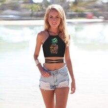 Summer Women Yoga Vest Pineapple 3D Print Sun-top Gym Underwear Shirt Halter Tops Sport Bras Push Up Cross Bandage Tank Camisole pineapple print crop halter top