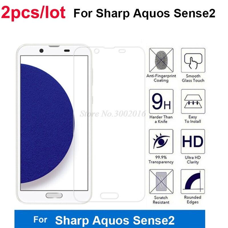 2Pcs Ultra-thin Screen Protector For Sharp Aquos Sense 2 Tempered Glass Guard Protector Phone Film For Sharp Aquos Sense2 SH-01