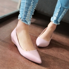 FANYUAN 2019 Women Pumps Pu Leather Shoes Platform Low Heel Slip on Pointed Toe Sprig/Autumn Ladies Size 34-43