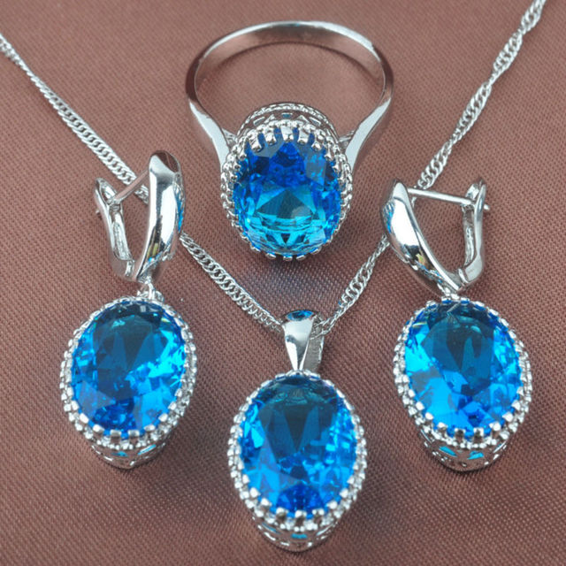 b15d031b3 Egg Design Sky Blue Stone Women's 925 Silver Jewelry Sets Necklace Pendant  Stud Earrings Rings Free
