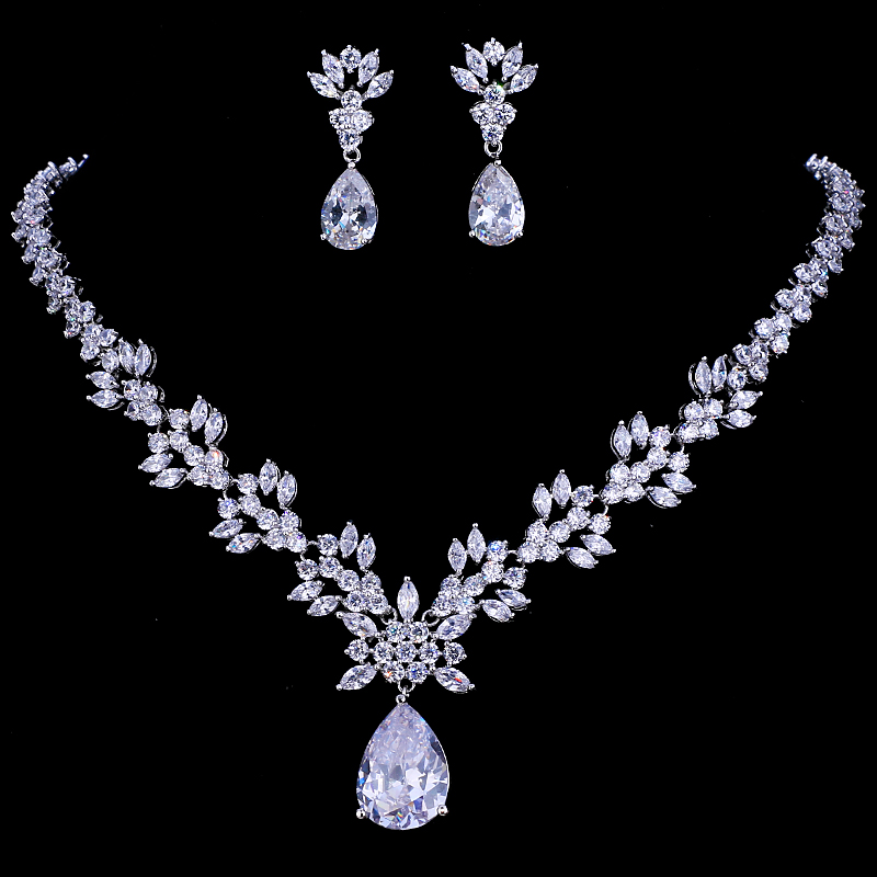 Emmaya Luxury Crystal Wedding Bridal Jewelry Sets Silver Color Rhinestone Wedding Jewelry Necklace Sets for Women emmaya luxury freshwater pearl bridal jewelry sets silver color earring necklace set wedding jewelry parure bijoux femme