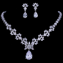 Emmaya Luxury Crystal Wedding Bridal Jewelry Sets Silver Color Rhinestone Wedding Jewelry Necklace Sets for Women недорого