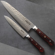 2 pcs damascus kitchen knife set Japanese vg10 steel chefs knives Gyotu hammer blade and 6 inch knife full tang rosewood handle 4 chic chefs horizontal ceramic knife 10 3cm blade