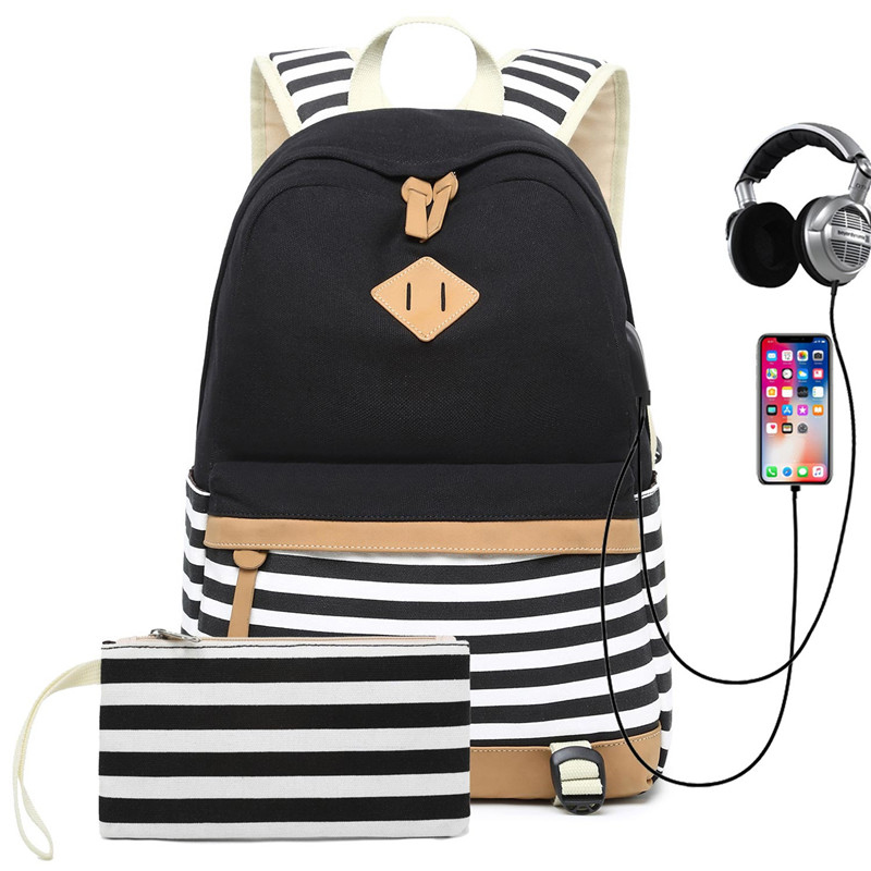 Hot Sale Canvas Backpack Women School Bags for Girls Large Capacity USB Charge Laptop Backpack Travel Innrech Market.com