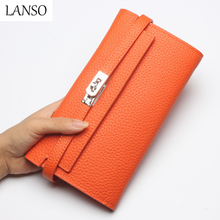 2016 New Genuine Leather LadY Long Wallet Large-Capacity Wallets holding Purse Envelope Clutch Cash Holder Pocket Famous Brand