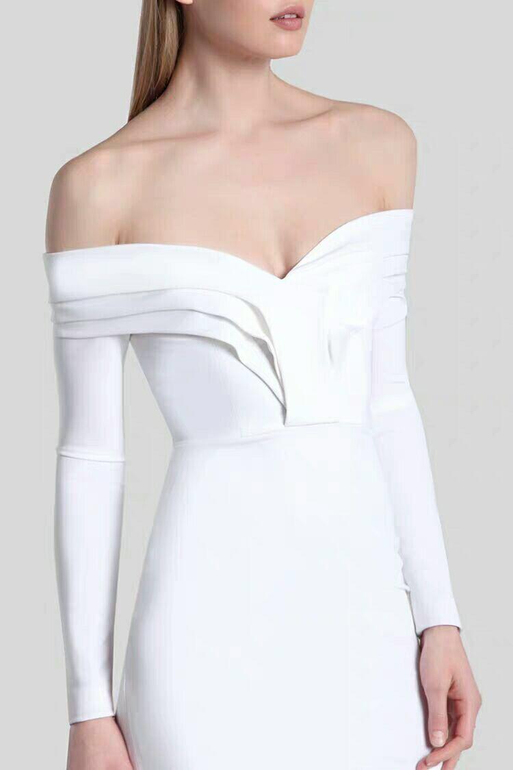 Top qualité Sexy blanc moulante robe célébrité mode Slash cou robes de soirée