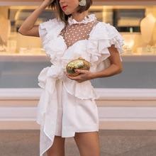 Elegant ruffled sleeve women blouse shirt Sexy mesh dot white blouse Chiffon sashes ladies tops party lace blouse shirt недорого