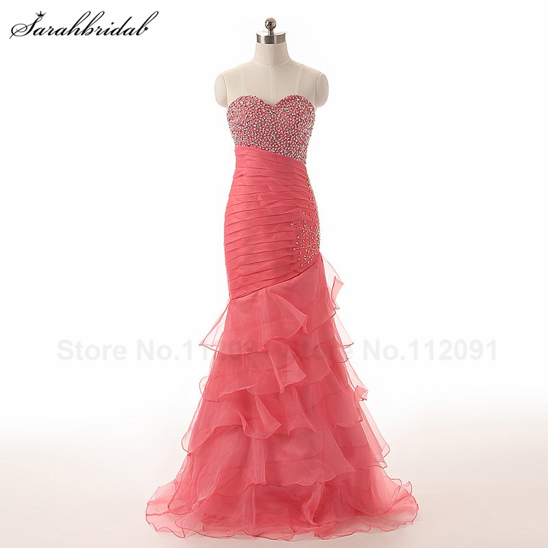 Luxury Charming   Prom     Dresses   Mermaid Long Elegant Tiered Chiffon Evening Gowns Long Vestidos De Festa In Stock TJ005 3 Colors
