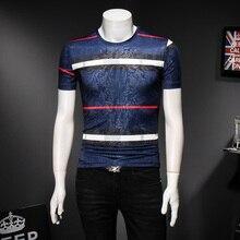 Men Fashion Designer T-shirts Summer New Cotton Classic Striped T shirt for Short Sleeve O-neck Tees 4XL 5XL 91915