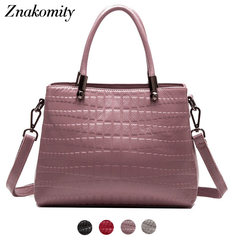 Znakomity Luxury handbag women genuine leather Real leather bags Fashion women's shoulder messenger bags cross body bag purple цена 2017