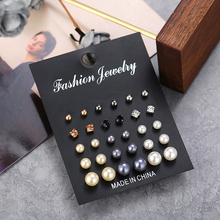 CHENFAN New earrings set creative retro simple pearl inlaid rhinestone 15 pairs korean stud