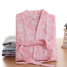 100% algodão gaze outono novo absorvente roupão sexy robe senhoras pijamas duplo deck gaze sleepshirts feminino casa roupão