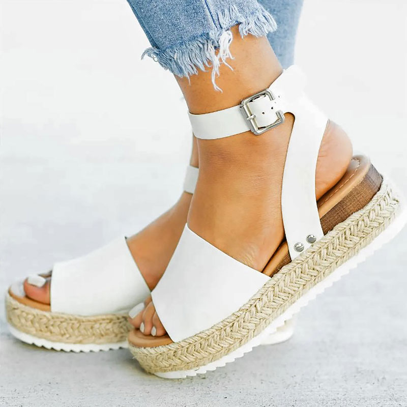 Sandals Women Shoes Buckle Platform Wedges Ankle-Strap Flat New Solid Casual with Ladies