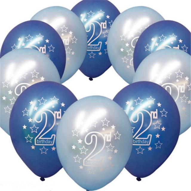 10pcs Baby 2ed Birthday Balloons Girl Boy Birthday Party Decoration