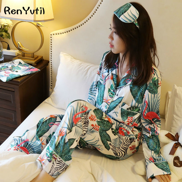 RenYvtil Flamingo Silk Pajamas 4Pics Set Long Sleeve Europe America Spring  High Quality Print Ins Pant 718f97826