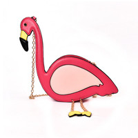 Personalized Animal Pattern Flamingo Chains Shoulder Bag Cheap Women O Bag Pink Bird MessengerBag Bags For