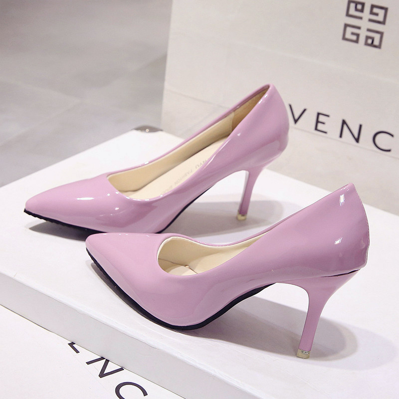 New Small Fresh High Heels 7cm Fine With Bridesmaid Shoes With Pointed Women's Singles Shoes.(China)