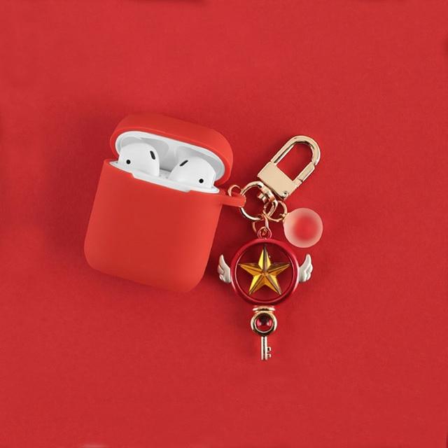 Anime de dibujos animados tarjeta Captor cardcaptor llavero de sakura llavero con anilla silicona con encanto auricular caso para los AirPods de Apple