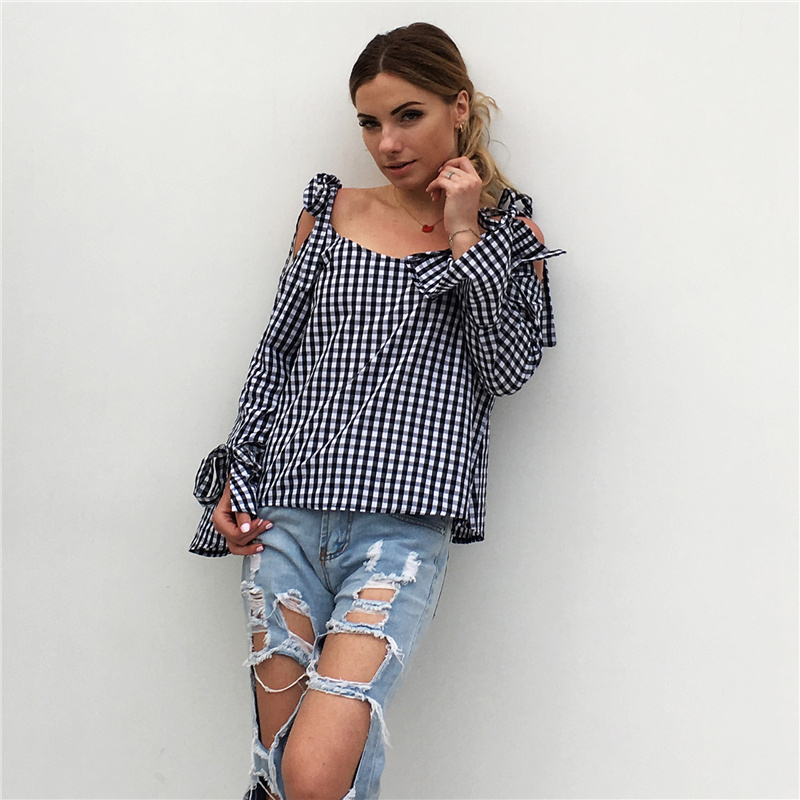 Long Sleeve T Shirt Women 2018 Autumn Plaid Off The Shoulder Tops For Women T-Shirts Flare Sleeve Lace Up Bow T-Shirt Women Tops