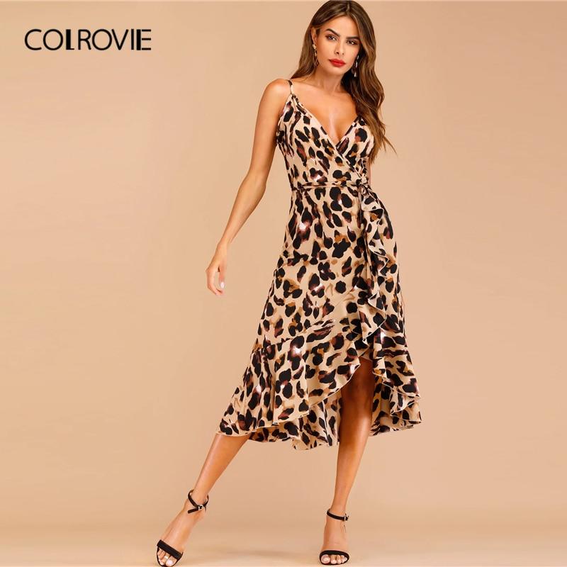 COLROVIE женское сексуальное длинное платье с v-образным вырезом и леопардовым принтом и оборками на подоле, 2019 летнее уличная одежда без рукаво...