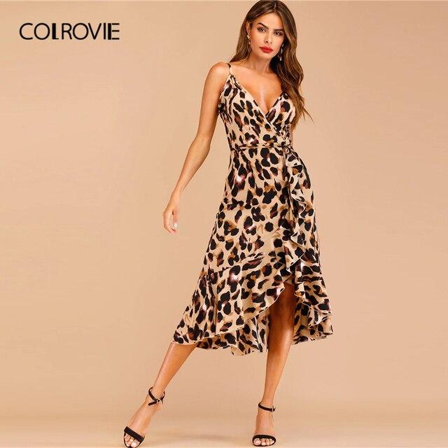 f7ecf804a9 COLROVIE cuello en V estampado de leopardo volantes dobladillo de Cami Sexy  vestido largo mujer Verano de 2019 Streetwear Bengala sin mangas vestidos  de las ...