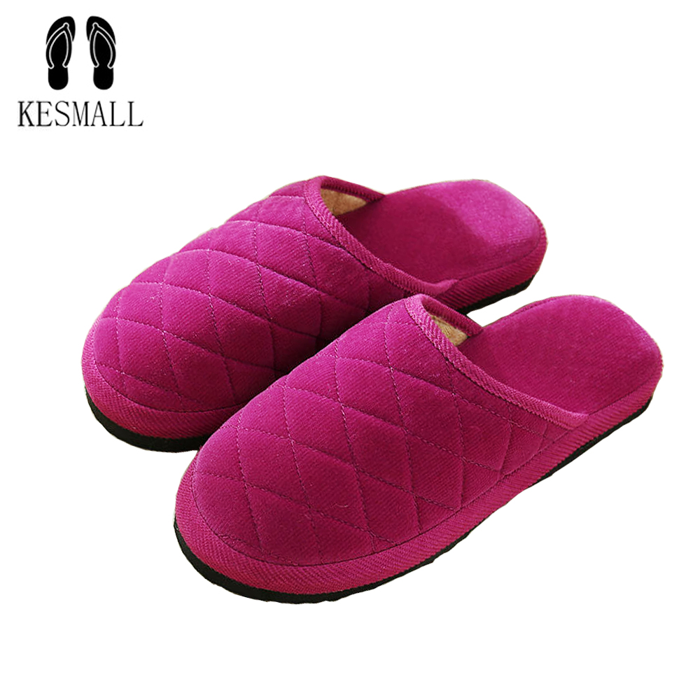 KESMALL 2018 Slippers Women New Fashion Soft Sole Autumn Winter Warm Home Cotton Plush Indoor Home Flat Shoes Girls Gift S318