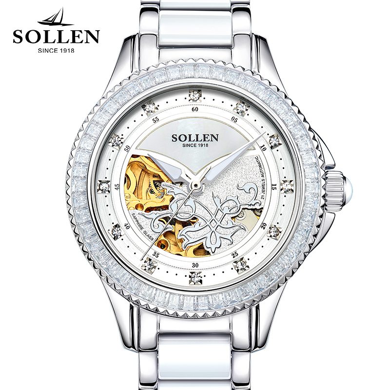 New SOLLEN Brand Luxury Top Limited Edition Ladies Watches Automatic Machinery Clock Hollow Design Diamond Women Watch Relogio цены онлайн