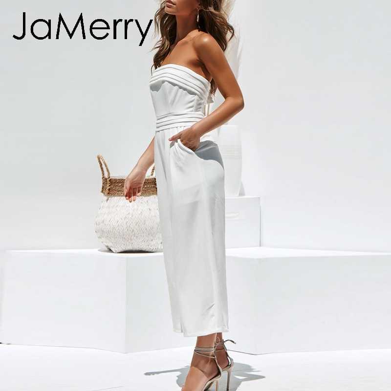 JaMerry Vintage zarif kapalı omuz kadın tulum kolsuz fermuar genel romper seksi rahat kadın uzun yaz tulumlar