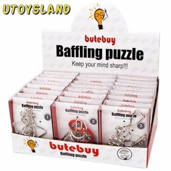 UTOYSLAND 24 pz/set di Filo di Metallo Puzzle Rompicapo IQ Blocco Classico Intellettuale Giocattolo Educativo per I Bambini Bambini Argento