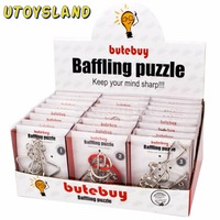 UTOYSLAND 24pcs/set Metal Wire Puzzles Brain Teaser IQ Lock Classical Intellectual Educational Toy for Children Kids Silver