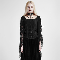 Punk Black Lolita Women Lace TR Shirt Tops Visual Kei Steam Punk Back Lace Up Tee