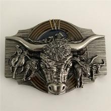 Розничная продажа 2019 Новый стиль высокое качество Cool Серебряный голова быка Пряжка для ковбойского ремня с металлической человек пояса аксессуары для 4 см широкий пояс