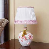 Modern Pink Rose Table Lamp Abajurs Living Room Home Decor Lamps Table Fabric Bedroom Nightstand Lamp Luminaire Table Light