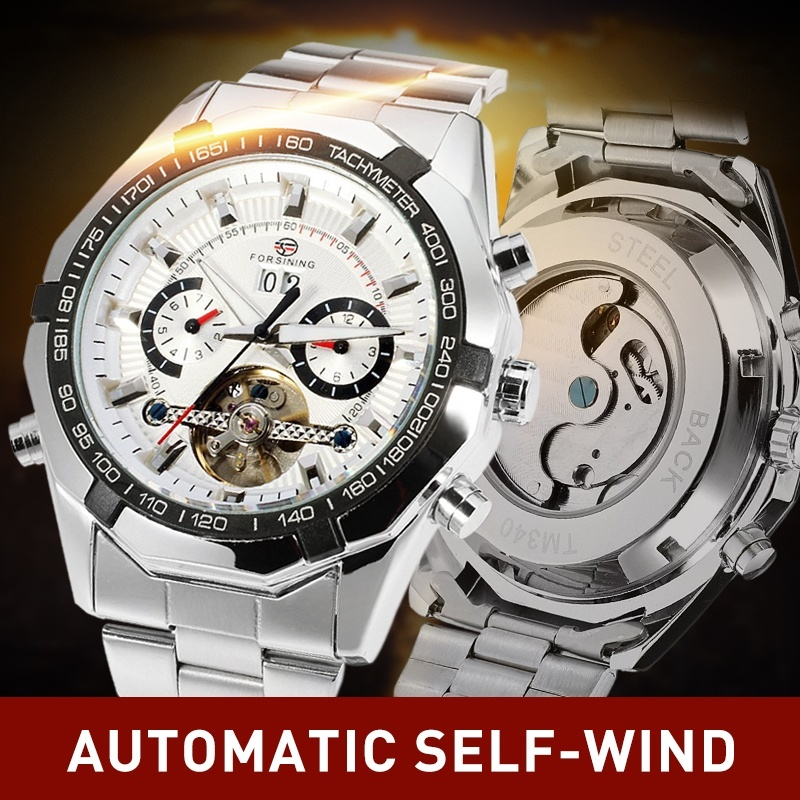 Forsining Auto Date Tourbillon Watches Military Men Stainless Steel Mechanical Watch Business Casual Watches with Gift Box все цены