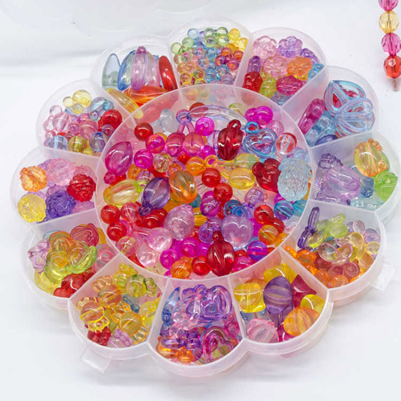 Multicolors Diy Beads Toys For Children Handmade Necklaces Bracelets Jewelry Making Beads Kit Set Girl Educational Toys Gift