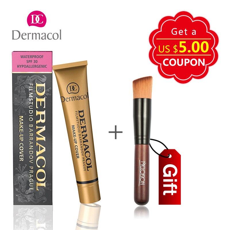 PER il REGALO! 12 colori Dermacol Base Make up Prodotti di base In Viso Concealer Della Copertura 30g Kit di Trucco Palatte con Make up Brush strumenti