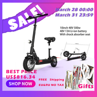 100km Powerful Two wheels Electric scooter with seat 10inch motor Scooter Electric skateboard electric kick scooter Unisex